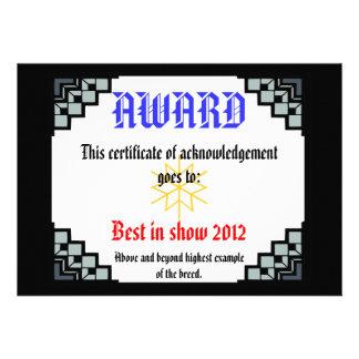 deco border pet award 3 personalized invite