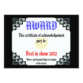 deco border pet award 3 13 cm x 18 cm invitation card