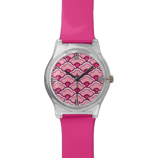 Deco Chinese Scallops, Fuchsia and Light Pink Watch