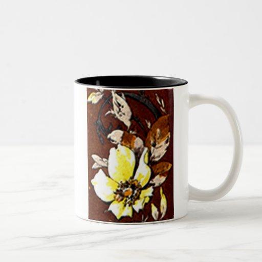 Deco Nouveau Flowers and Lace Two-Tone Coffee Mug