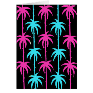 Deco Palms in Pink and Blue Card