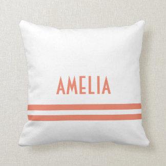 Deco Stripes Name Monogram Peach White Throw Pillow