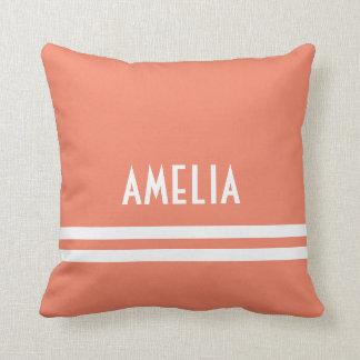 Deco Stripes Name Monogram White Peach Throw Pillow