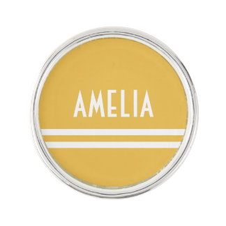 Deco Stripes Name Monogram White Yellow Gold Lapel Pin