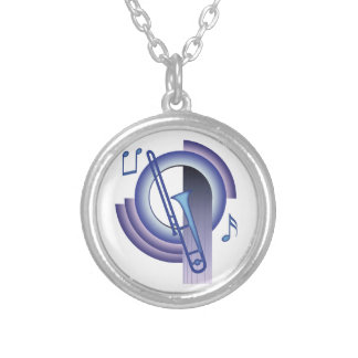 Deco Trombone Silver Plated Necklace