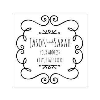 decor bride and groom wedding address self-inking stamp