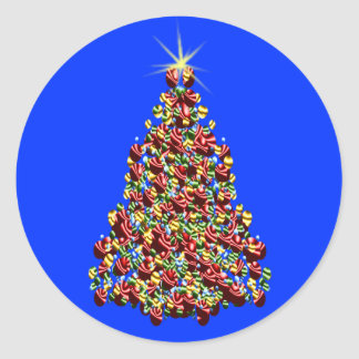 Decorated Christmas Tree Holiday Cards Seals Round Sticker