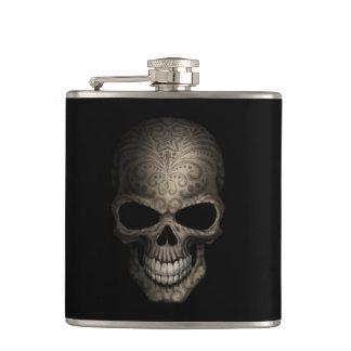Decorated Dark Skull Hip Flask