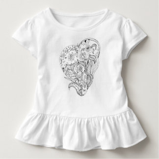 Decorated Toddler Ruffle Tee to color