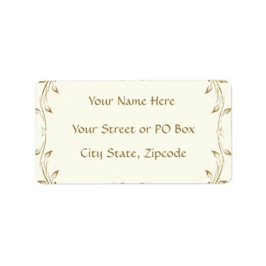 Decorative Antique Gold Border Wedding Label