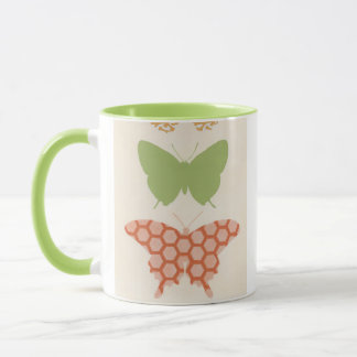 Decorative Butterfly Patterns on Cream Background Mug