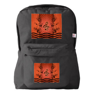 Decorative clef with roses an metal background backpack