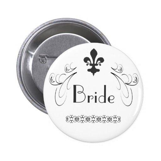 Decorative Fleur de Lis Bride Button