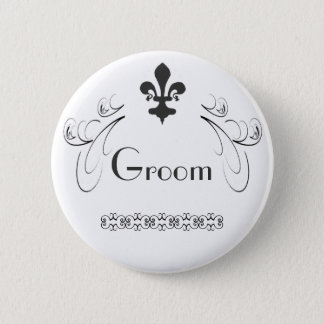 Decorative Fleur de Lis Groom Button