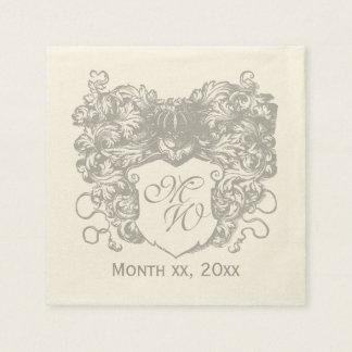 Decorative, Floral, Coat of Arms Monogram Disposable Napkin