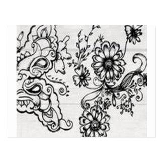Decorative floral design postcard