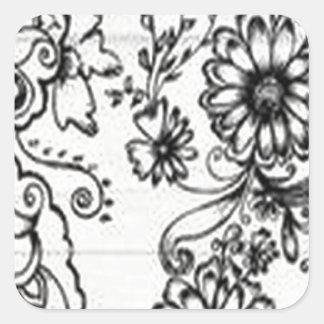 Decorative floral design square sticker