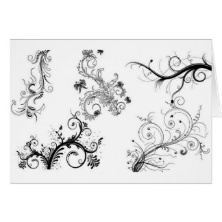 Decorative floral ornaments greeting card