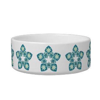 Decorative Floral Tile Stars Pet Bowl - Aquamarine Cat Water Bowls