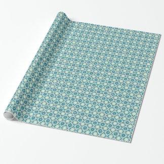 Decorative Floral Tiles Wrapping Paper -Aquamarine