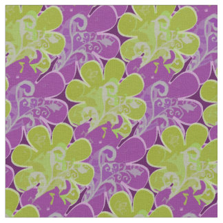 Decorative Flowers (green and purple) Fabric