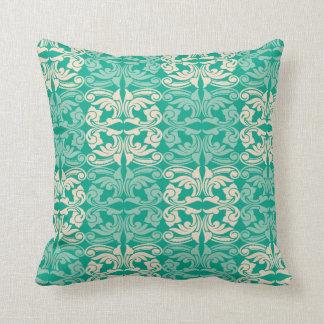 Decorative Green Damask Pattern Cushion