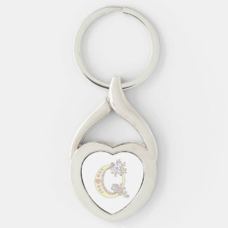 Decorative hearts flowers initial letter Q keyring