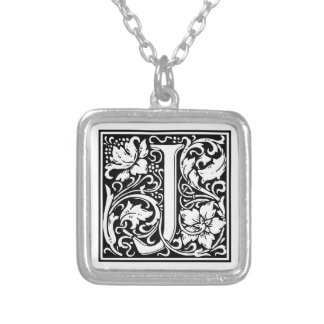 "Decorative Letter Initial ""J"" Silver Plated Necklace"