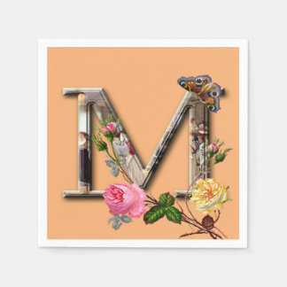 "Decorative Letter Initial ""M"" Disposable Serviette"