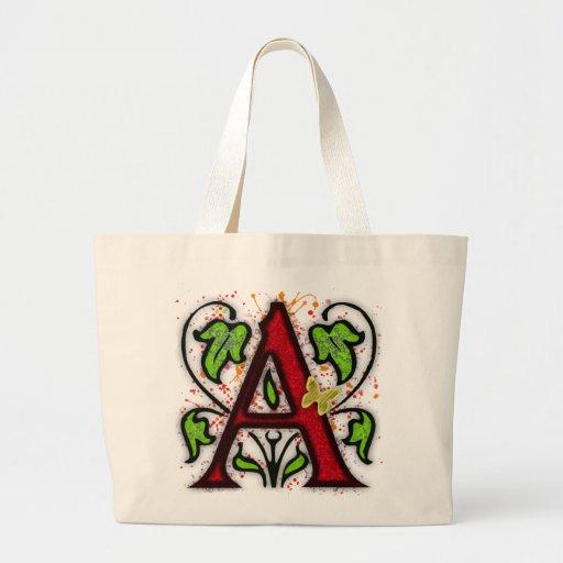 Decorative Monogram Letter A Jumbo Tote Bag