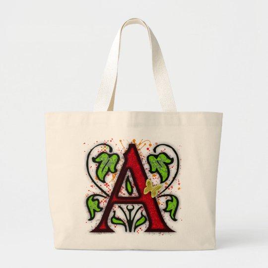 Decorative Monogram Letter A Large Tote Bag