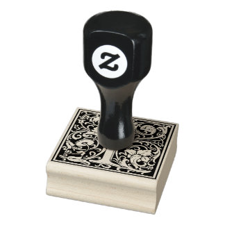Decorative Monogram Letter I Rubber Stamp