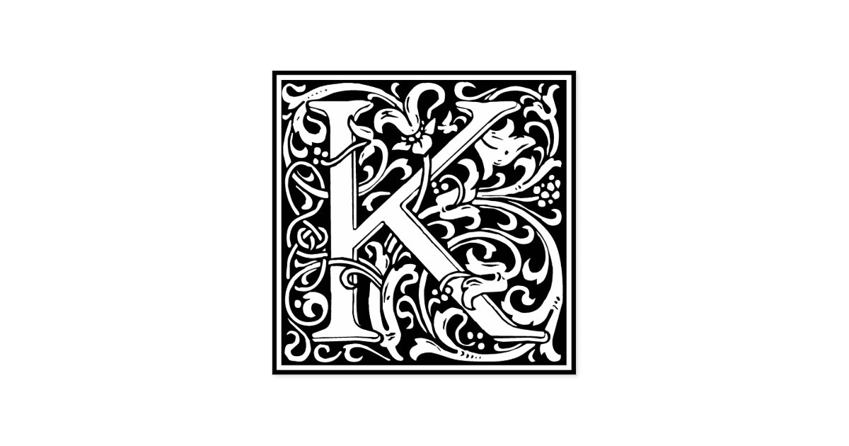 decorative monogram letter k rubber stamp zazzle