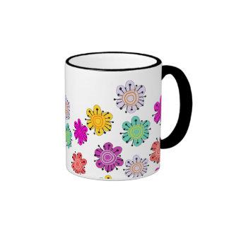 Decorative Multicolored Flowers Coffee Mugs