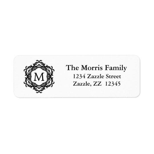 Decorative Ornamental Frame Black & White Monogram Return Address Label