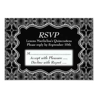 Decorative Pattern Black and White Quinceanera Card