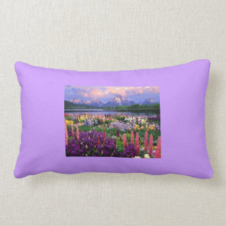 Decorative pillow with beautiful floral scenery