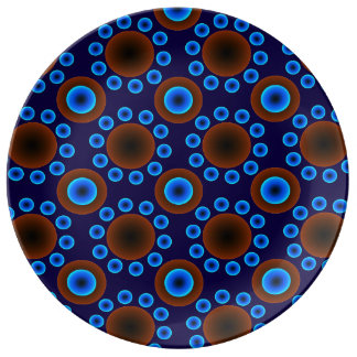Decorative Porcelain retro blue brown dots Plate