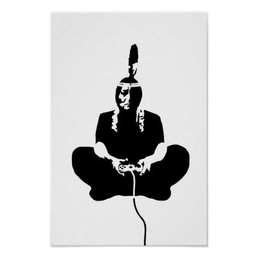decorative poster:: indian playing videogame
