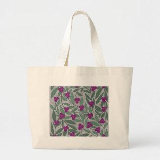 Decorative purple floral pattern large tote bag