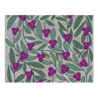 Decorative purple floral pattern postcard