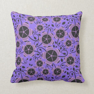 Decorative Purple fun floral designed throw pillow Cushions