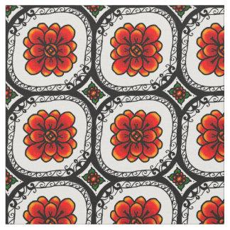 Decorative Red Flower Geometric pattern fabric