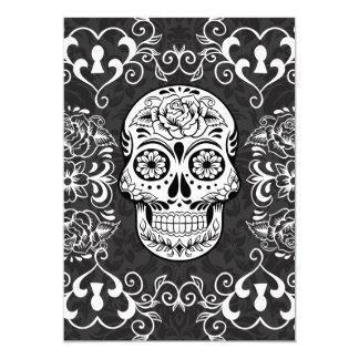 Decorative Sugar Skull Black White Gothic Grunge Card
