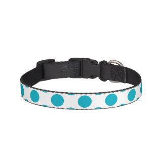 Deep Aqua Polka Dots Dog Collar