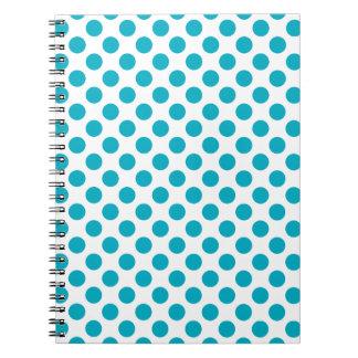Deep Aqua Polka Dots Notebooks