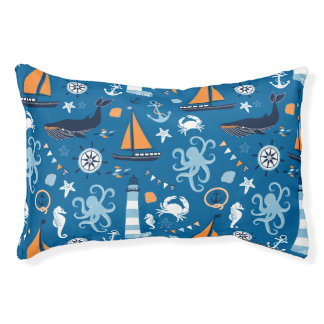 Deep Blue All Things Nautical Dog Bed