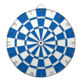 Deep Blue And White Dartboard With Darts