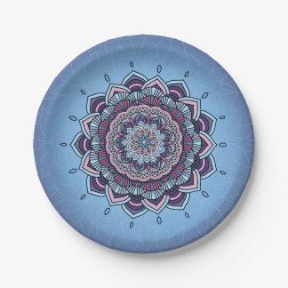 Deep Blue Glow Mandala ID361 Paper Plate