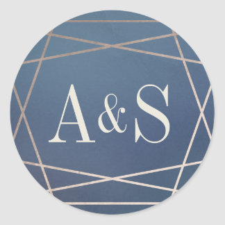 Deep Blue Opaline Wedding Monogram Champagne Gold Round Sticker